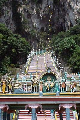 About 300! That's how many stairs I had to climb to get to the Batu Caves!
