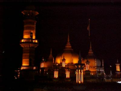 The Masjid Jamek Mosque, stunning doesn't even come close to naming the effect it had from this view. The illumination is a sight to behold.