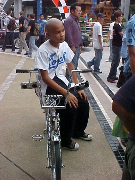 Low Ridwer bikes were on display at a car show near the MBK mall in Bangkok.