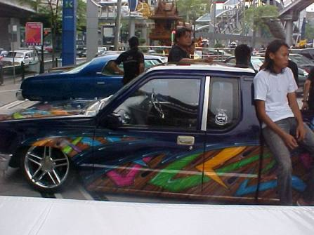 Custom paint jobs were on display at a car show near the MBK mall in Bangkok.