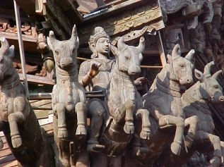 The Sanctuary of Truth, Prasat Sut Ja-Tum was presents seven creators through carved wood sculptures. Heaven, Earth, Father, Mother, Moon, Sun & Stars.